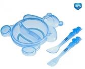 Тарелка Медвежонок с вилкой и ложкой синяя - набор, Canpol babies, синяя от Canpol babies