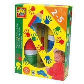 Пальчиковые краски - ЦВЕТНЫЕ ЛАДОШКИ (6 цветов в пластиковых баночках, кисточка) от Ses (Ses creative)