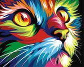 Радужный кот 30x40см