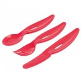 Детский набор столовых приборов (ложка, вилка, нож), красные, Canpol babies, красный от Canpol babies