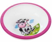 Тарелка-миска пластиковая с нескользящим дном Корова, с розовым ободком, Canpol babies, роз.ободок корова от Canpol babies