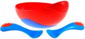 Набор посуды Улёт посуда, тарелка со скользящим днем, ложка, красный, 260 мл., Nuby, красн. от NUBY (Нуби)