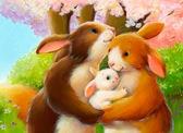 Счастливая семья, серия Животные и птицы, рисование по номерам, 40 х 50 см, Идейка, Счастливая семья