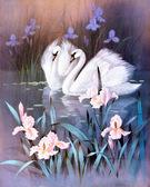 Лебединая верность, серия Животные и птицы, рисование по номерам, 40 х 50 см, Идейка, Лебединная верность