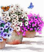 Цветы в горшочках, серия Цветы, рисование по номерам, 40 ? 50 см, Идейка, Цветы в вазоне