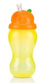 Поильник с силиконовой трубочкой-непроливайкой, желто-оранжевый, 355 мл., Nuby, желто- оранж.