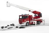 игрушка - большая пожарная машина SCANIA R-series с лестницей (водяная помпа + свет+звук), М1:16