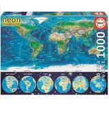 Пазл светящийся, Карта Мира, 1000 элементов