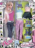 Модный микс, набор с куклой 28см., блондинка в джинсах, Ася от Ася