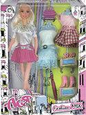 Модный микс, набор с куклой 28см., блондинка в юбке, Ася от Ася