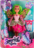 Волшебная фея-бабочка Кейтлин в розово-красном платье (25 см), Sparkle girlz, Funville, зеленые волосы от Sparklegirlz