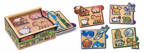 Животные-набор из 4 пазлов