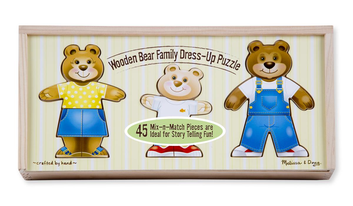 Деревянный пазл «Одень семью медведей»