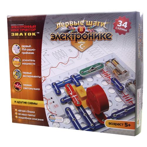 """Конструктор- ЗНАТОК """"Первые шаги в электронике"""" (34 схемы, набор С)"""