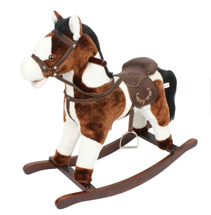 Игрушечный конь - качалка с музыкой, цв.темно-коричневый/белый