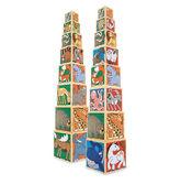 Набор деревянных блоков-кубов Животные