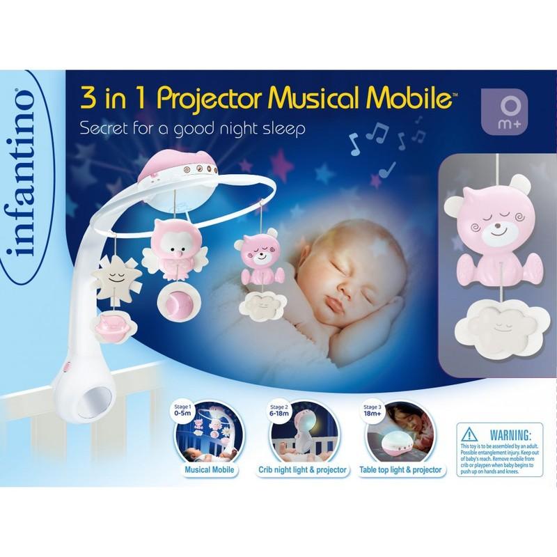 INFANTINO Мобиль музыкальный с проектором 3 в 1, серый