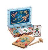 Деревянная игра апликация с молоточком Космодром от DJECO (Джеко)