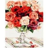Красно-белый букет роз, 40х50см